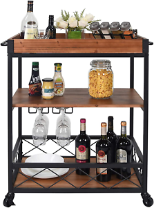 CharaVector Solid Wood Bar Serving Cart,Rolling Kitchen Storage Cart for the and