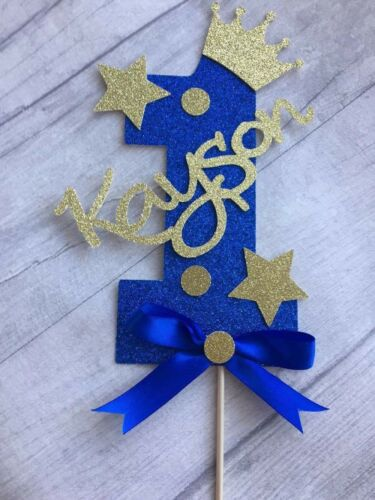 Personalised boys first birthday number one cake topper blue glitter 1st boy 1