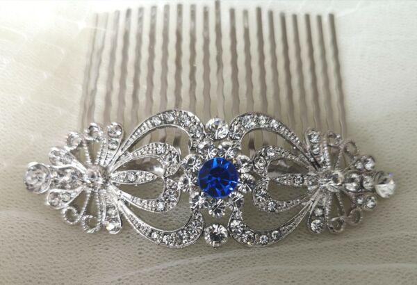 """adine 'art Deco Vintage Style Crystal Nuziale Capelli Pettine Anni 1920 Blu Zaffiro"