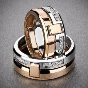 Women-Men-Two-tone-Gold-925-Silver-White-Topaz-Band-Wedding-Couple-Ring-Gift