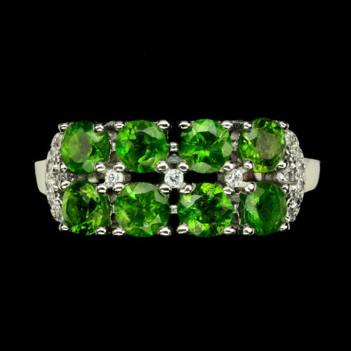 Round 3.5mm Chrome Diopside W Cz 14k White Gold Plate 925 Sterling Silver Ring