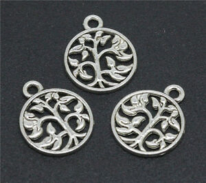 100-PCS-18-MM-Antiqued-Silver-Unique-Hollow-Out-Fresh-Branches-Pendants
