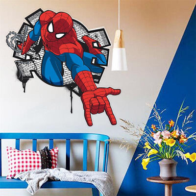 Spider Man Wall Sticker 3d Decal Mural Art Cartoon Movie Wallpaper For Kids Room 600174177371 Ebay