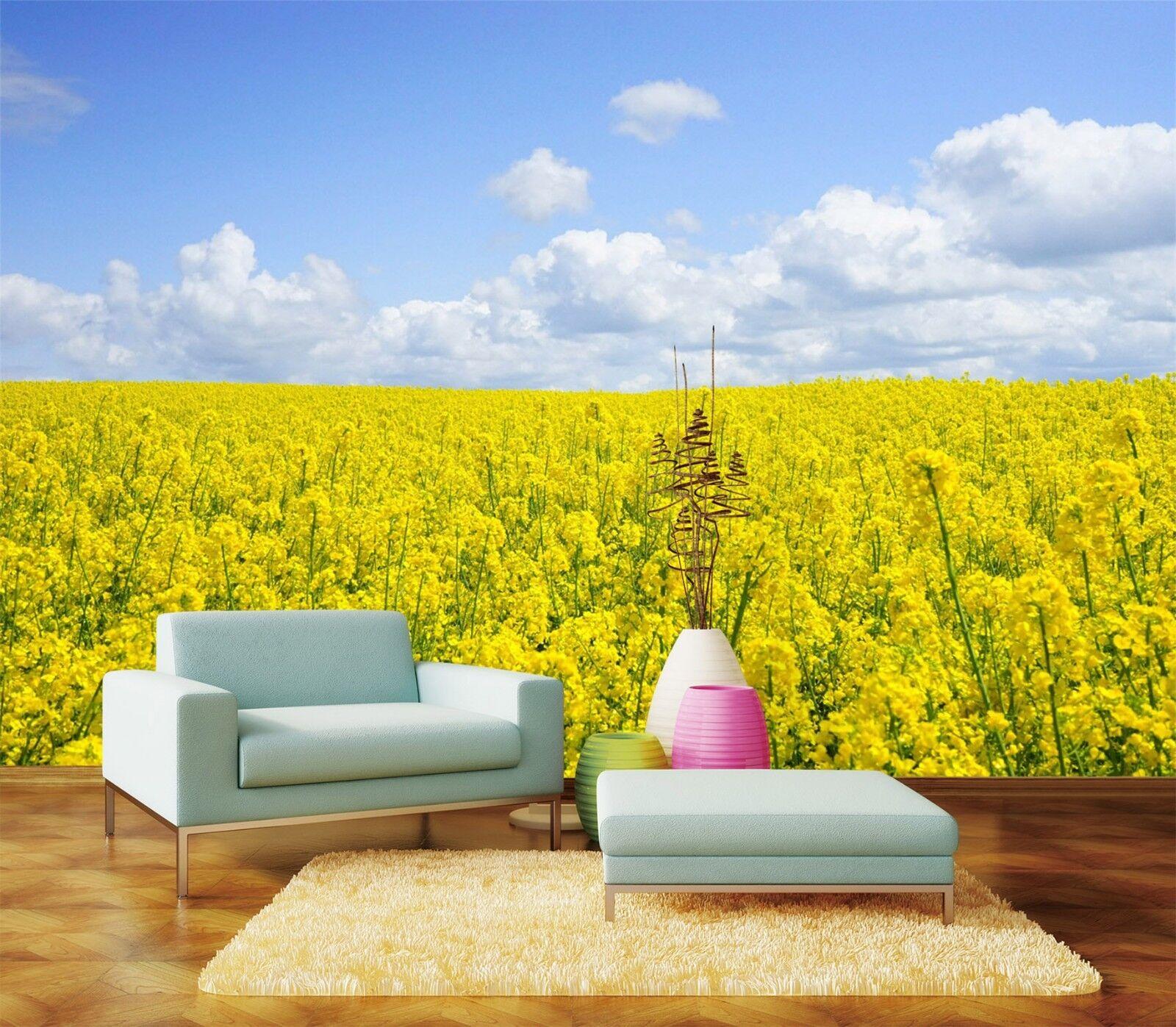 3D Gelbes Blaumen Feld 979 Tapete Wandgemälde Tapeten Bild Familie DE Lemon