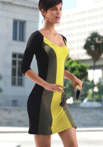 NEU COLORBLOCKING STRETCH KLEID GR 40 LAURA SCOTT khaki schwarz gelb 52€ *786194