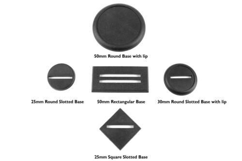 WWG 25mm Kunststoff Runde Basen mit Schlitz für Miniaturen Menge Auswahlen