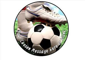 Football boot birthday personalised round cake topper ...