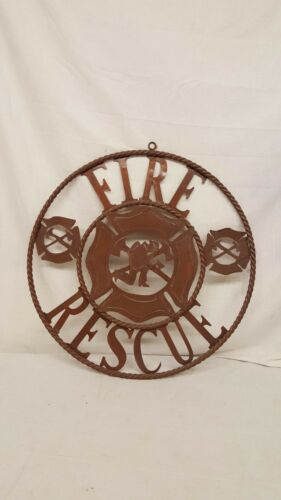 """Firefighter Fireman EMS Fire /& Rescue Rustic Sign man cave Mexican Yard ART 22/"""""""
