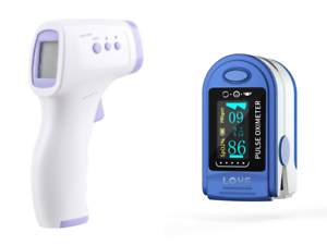 Infrared Thermometer and Fingertip Pulse Oximeter OLED Bundle FDA With Batteries