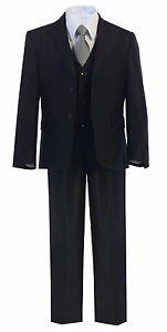 Boys Toddler Kid Teen 5-PC Wedding Formal Party Black Suit Tuxedo w/Vest sz 2-20