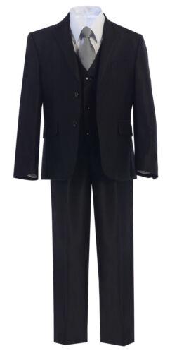 Boys Toddler Kid Teen 5-PC Wedding Formal Party Black Suit Tuxedo w//Vest sz 2-20