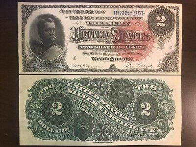 Reproduction Copy  $2 Silver Certificate  US Currency Bill