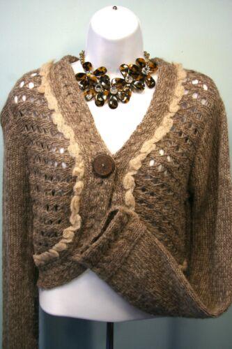 ANTHROPOLOGIE SLEEPING ON SNOW Cable Knit Sweater Medium Alpaca Mohair