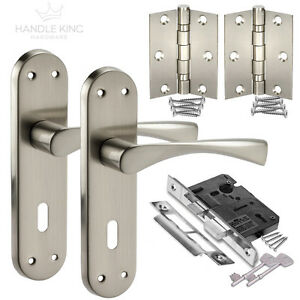 New Internal Satin Door Handle On Plate Lock Pack Handles