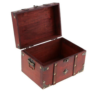Retro-Wooden-Treasure-Chest-Wood-Jewelry-Storage-Box-Case-Organizer-B