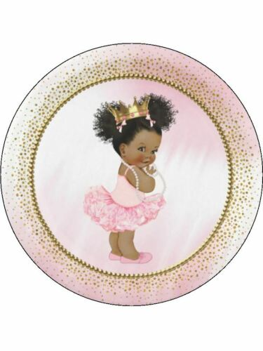 Puff ball baby afro babyshower personalised wafer or Icing edible Cake topper