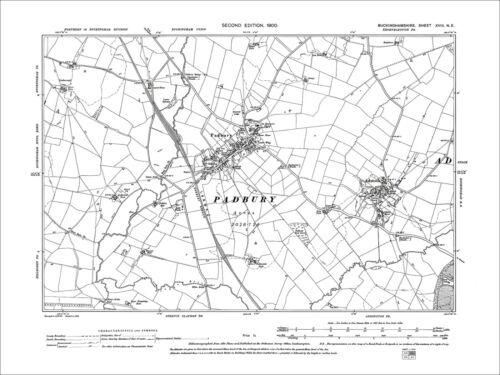 18NE Padbury old map Bucks 1900 Adstock