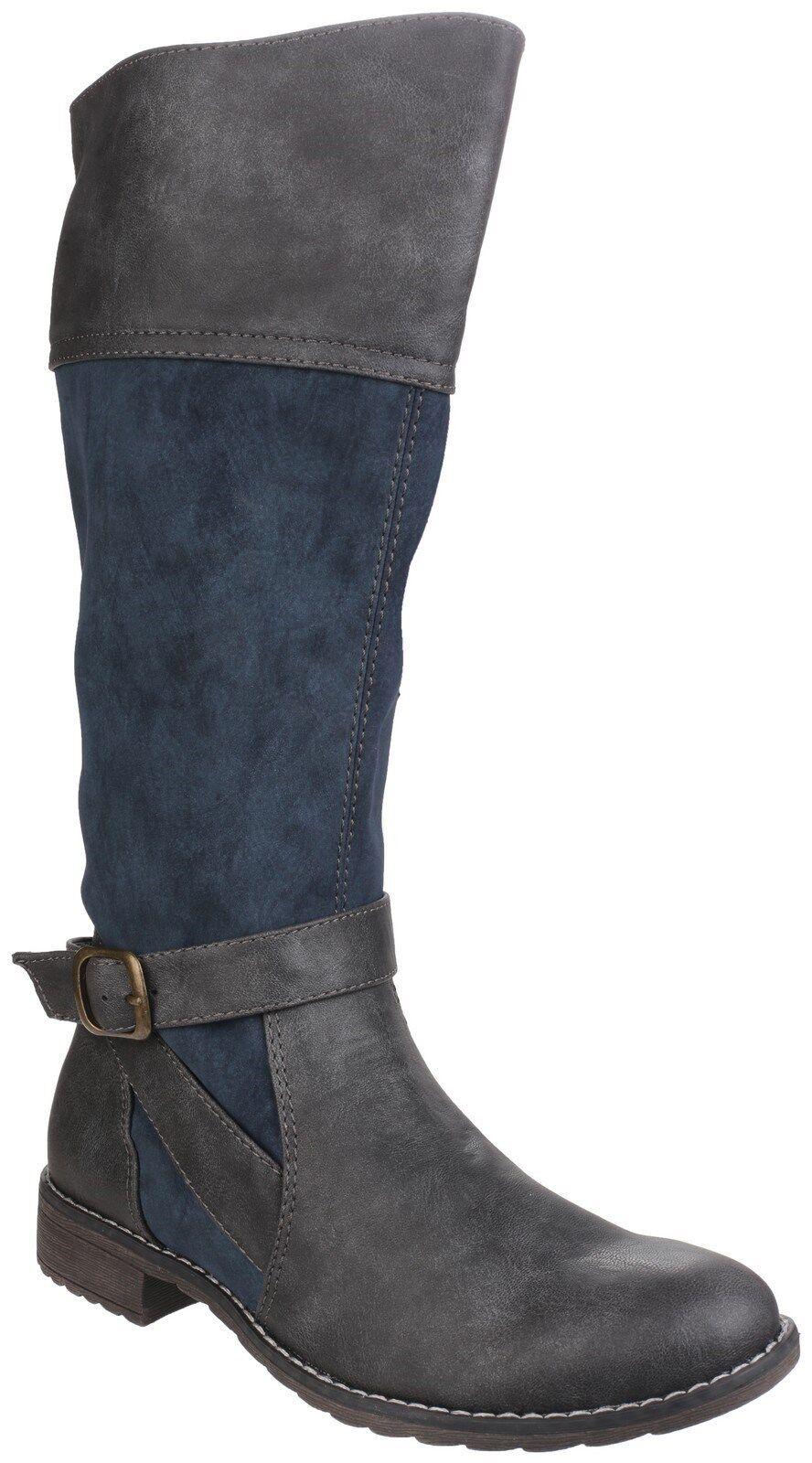 Divaz Garbo kniehoch Reißverschluss Damen zweifarbig Modische Stiefel Schuhe