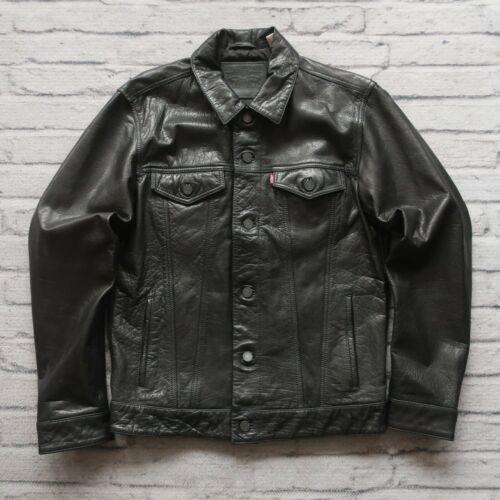 Levis Type 3 Leather Trucker Jacket Size M Black 2