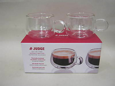 0134af0482e New Judge Set Of 2 Two Double Walled Espresso Coffee Clear Glasses 75ML  JDG25