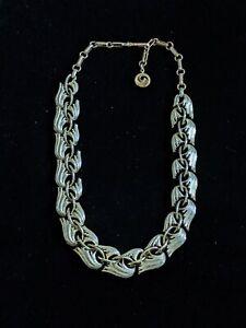 Vintage-Lisner-Gold-Tone-Leaf-Feather-Statement-Choker-Collar-Necklace