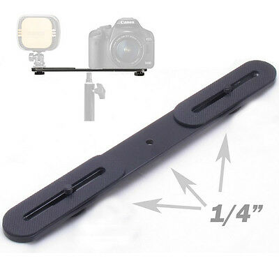 "Universal Dual Flash Hot Shoe Bracket One to Two Switcher 1/4"" Metal Holder Bar"