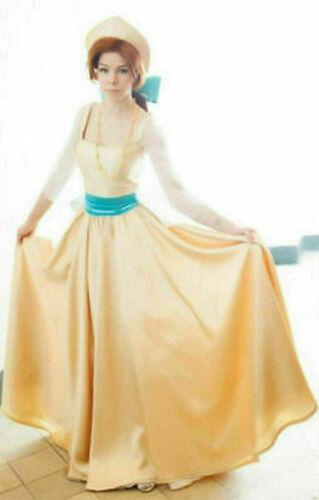 Anastasia Princess Costume Cosplay Cartoon Yellow Gold Dress Russia Clothing
