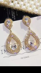 GOLD-Crystal-Cubic-Zirconia-Light-Weight-Earrings-Evening-Wedding-Earrings