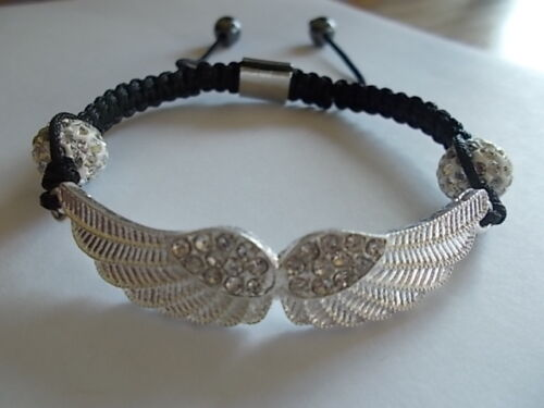 ANGEL~WINGS~BRACELET~with~CRYSTALS~BIKER CHICK~HARLEY RIDER~FASHION~BLING~NICE
