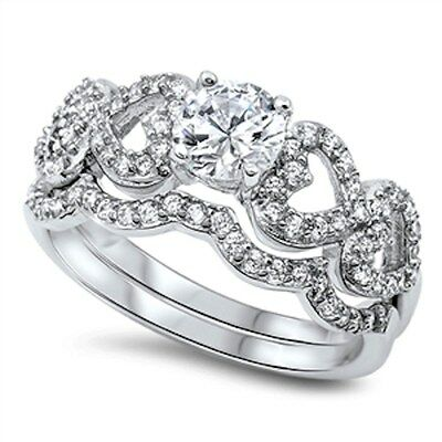 Round Heart Cubic Zirconia Wedding Bridal Set .925 Sterling Silver Ring 5-10