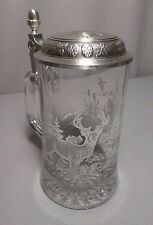 Wildlife Animals Glass Beer Stein w/Pewter Lid and Handle: Made in Germany
