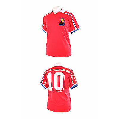 FRANCE RETRO 1986 NUMBER 10 (PLATINI) AWAY THIRD RED FOOTBALL SHIRT LARGE L NEW
