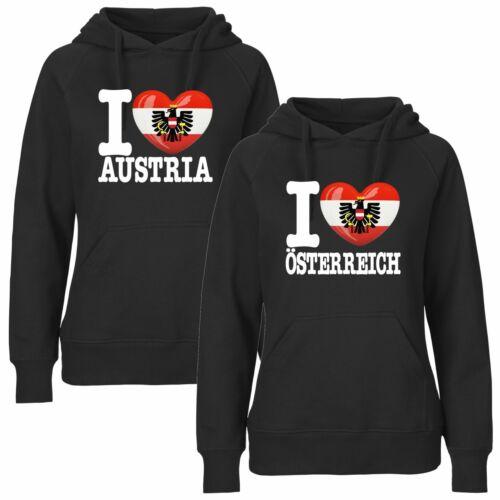 I LOVE ÖSTERREICH EM WM Pulli Liebe Herz Pullover FanShirts4u Damen Hoodie