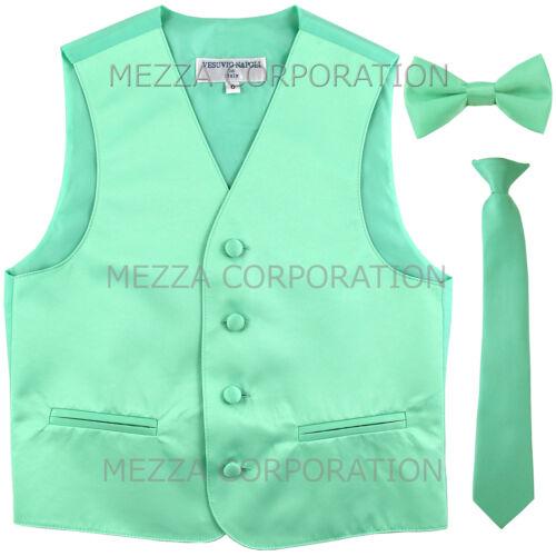 New Kids boys formal tuxedo vest/_necktie /& bowtie Aqua Green US 2 4 6 8 10 12 14