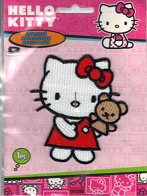 "Hello Kitty Iron On Applique Patch Hello Kitty w// Bear Puppet 3/"" x 2.5/"" *New"