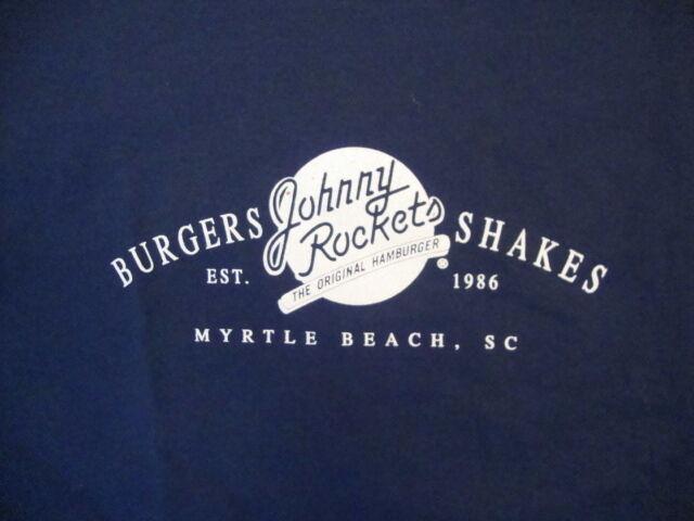 1314ef274c45 Johnny Rockets Burgers and Shakes Myrtle Beach SC Souvenir Navy T Shirt L