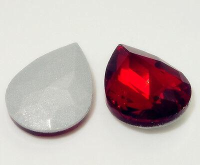 10PCS Teardrop Crystal rhinestones Silver Bottom beads 13*18MM Multicolor