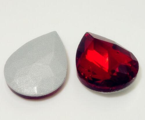 15PCS Teardrop Crystal rhinestones Silver beads 10*14MM Multicolor