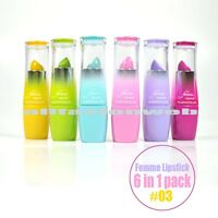 6 In 1 Set Kleancolor Femme Lipstick 3 Assorted Colors Lip Stick Colorful 1275