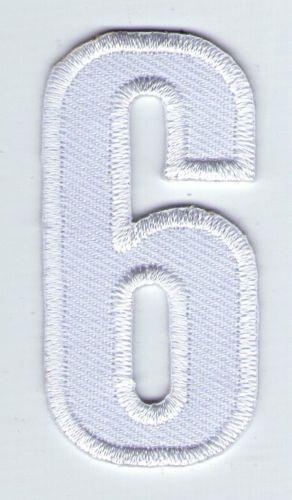 ECUSSON PATCHE  THERMOCOLLANT PATCH CHIFFRE BLANC SIX 6  HAUTEUR 5 CM