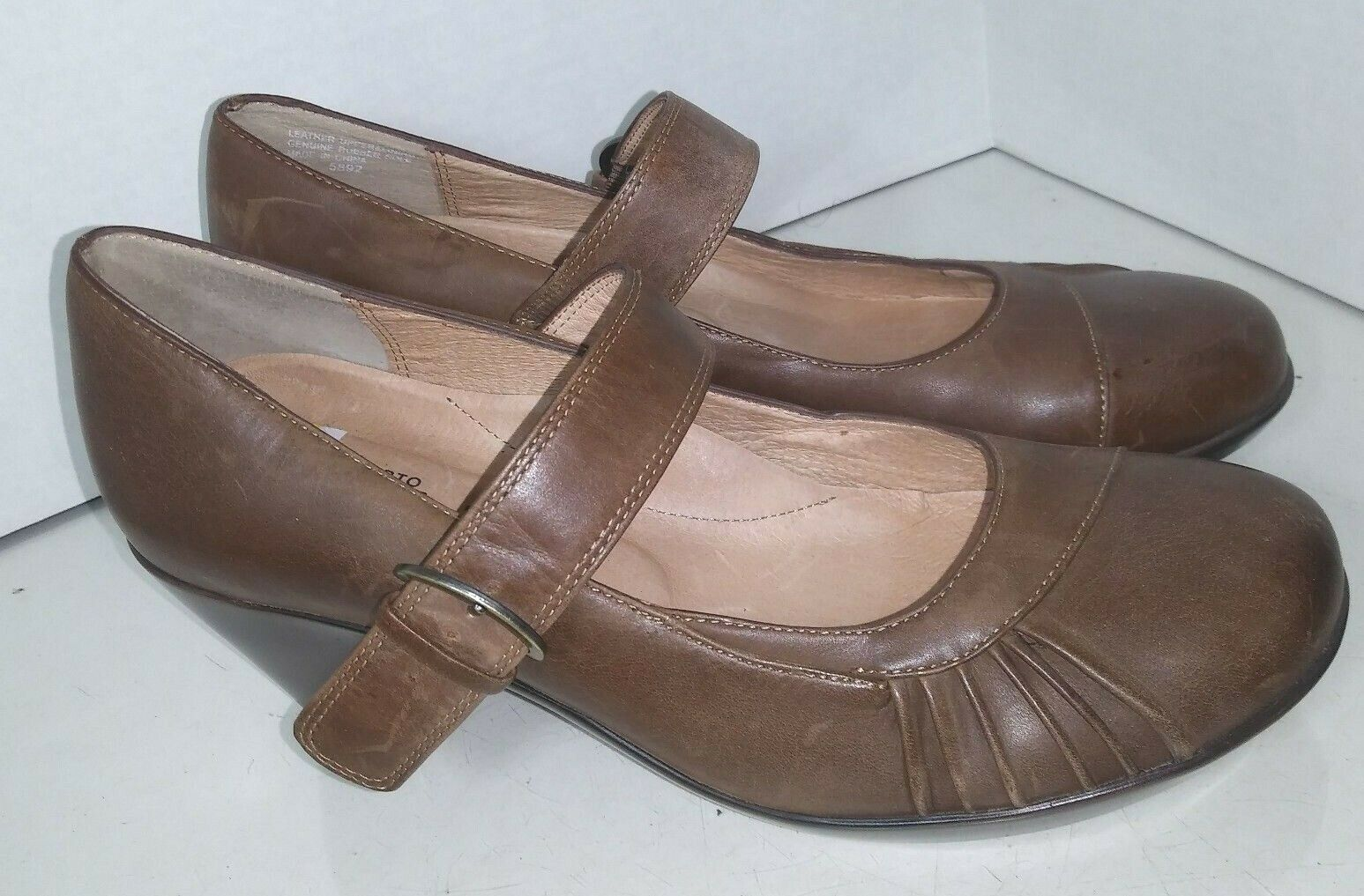 Umberto Raffini Brown Leather Mary Janes shoes Womens Size 39