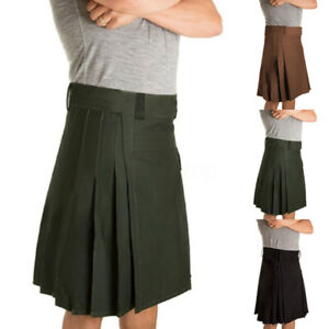 UK-Mens-Medieval-Steampunk-Kilt-Scottish-Skirts-Party-Stag-Costume-tactical-kilt