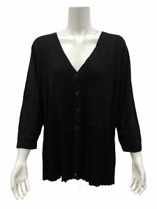 Isaac-Mizrahi-3-4-Sleeves-Pleated-Peplum-Cardigan-Black-X-Large-Size