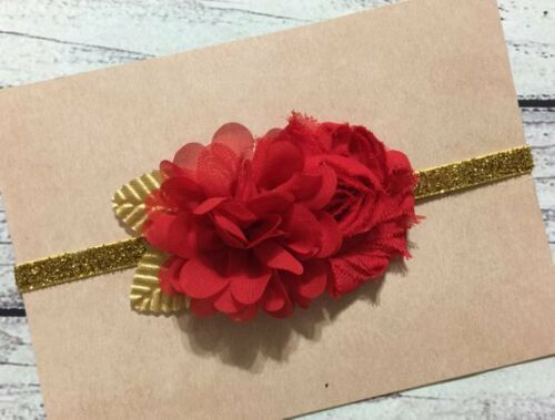 Red and Gold Christmas Holiday Baby//Toddler//Girl Glitter Headband