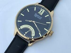 American-Exchange-Men-Watch-Black-Band-Gold-Tone-Case-Analog-Date-Calendar-Wrist