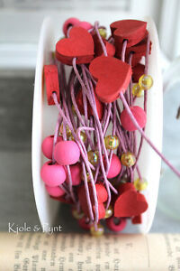 0,85€m 10m Herzchenkordel Herz Kordel Perlenband Perlen pink rosa Hochzeit Taufe