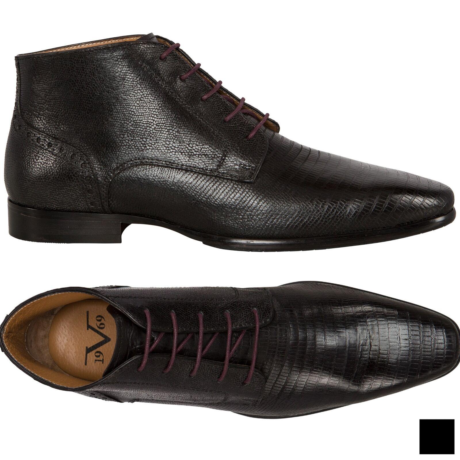 19V69 Versace 1969 Leder Business Stiefel, Herren (V49)