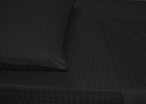 600TC Egyptian Cotton 1pc FITTED SHEET Sateen Dobby Windowpane Black