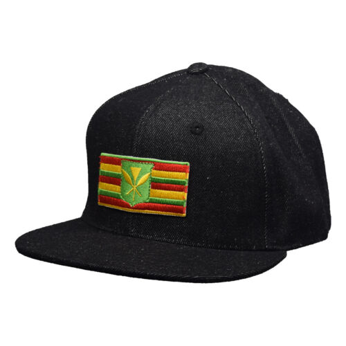 Kanaka Maoli Hawaii Snapback Hat by LET/'S BE IRIE Black Denim