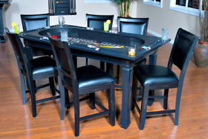 Burlington-Game-Table-3-in-1-Poker-Tables-Peppercorn-w-6-Chairs-FREE-Shipping